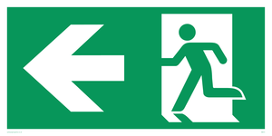 arrow left & running man symbol only