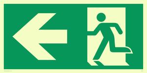 arrow left & running man symbol only