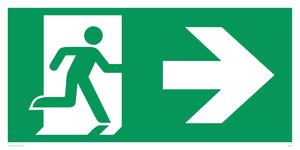 arrow right & running man symbol only