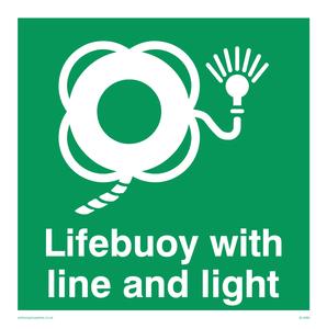 Lifebuoy with line and light