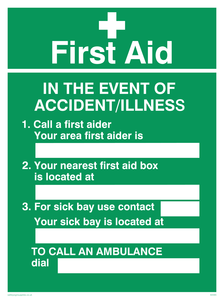 first aid in the event of accident/illness poster