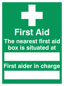 first aid the nearest first aid box is situated at (space) first aider in charge (space)