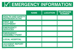 Emergency information table