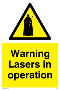 Lasers in operation Funny Sign