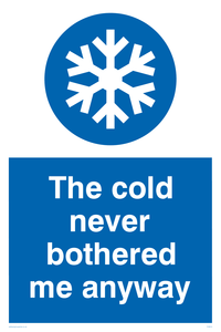 The cold never bothered me anyway Funny Sign