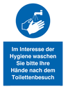 <p>In the interest of hygiene please wash your hands after visiting the toilet</p> Text: