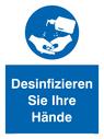 <p>Desinfizieren Sie Ihre Hände</p> Text: