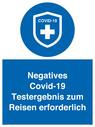 <p>Negatives Covid-19 Testergebnis zum Reisen erforderlich</p> Text: