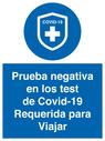 <p>Prueba negativa en los test de Covid-19 Requerida para Viajar</p> Text: