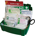 <p>Fully stocked BS 8599-2 Statutory Vehicle First Aid Kit, compliant with Health & Safety regulations and. Suitable for 1-8 persons. Durable water resistant case. Contains internal pockets to organise first aid supplies.</p> Text: Vehicle First Aid Kit for 1-8 persons, BS 8599-1 compliant with Health & Safety regulations.  Contains: First Aid Guidance Leaflet x1, HypaCover Trauma Dressing Medium x1, HypaCover First Aid Dressing 12x12cm x1, HypaBand Triangular Bandage x1, HypaClean Sterile Wipes x10, HypaPlast Washproof Plasters x10, HypaTouch Nitrile Gloves (Pair) x2, HypaGuard Face Shield x1, HypaGuard Foil Blanket x1, HypaCover Adherent Dressing 10x10cm x1, Burn Dressing 10x10cm x2, Clothing Cutters x1.