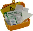 <p>Fully stocked BS 8599-2 Body Fluid Disposal Kit, compliant with Health & Safety regulations. Small. Durable hinged case. Organise first aid supplies.</p> Text: Body Fluid Disposal Kit for 1 application, BS 8599-1 compliant with Health & Safety regulations.  Contains: HypaClean Absorbent Powder (10g) x1, HypaClean Disinfectant Cleaner Spray (50ml) x1, Disinfectant Waipes x1, HypaTouch Disposable Gloves (Pair) x1, Non-Woven Cloths x2, Scraper & Scoop x1, Polythene Apron x1, Biohazard Disposable Bag x1.