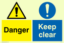 dual sign exclamation in warning triangle & circle Text: danger keep clear