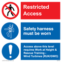 <p>Restricted access. Safety harness must be worn. Access above this level</p> Text: