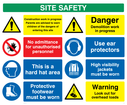 Construction Site Safety - multi sign board. Warning exclamation symbol, no entry symbol, hard hat symbol, safety boots symbol, ear defenders symbol, hi-vis vest symbol, overhead loads / crane symbol. Text: Site safety. Construction work in progress, parents are advised to warn children of the dangers of entering this site. No admittance for unauthorised personnel. This is a hard hat area. Protective footwear must be worn. Danger demolition work in progress. Use ear protectors, high visibility jackets must be worn. Warning look out for overhead loads.