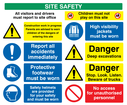 Construction site safety - multi sign board. warning exclamation symbol, no children symbol, mandatory exclamation, safety boots symbol, hard hat symbol, hi-vis vest symbol, no entry prohibition symbol. Text: Site safety. Visitors and drivers must report to site office. Children must not play on this site. Construction work in progress, parents are advised to warn children of the dangers of entering this site. Report all accidents immediately. Protective footwear must be worn. Safety helmets are provided for your protection and must be worn. High visibility jackets must be worn. danger deep excavations. Danger stop, look, listen, beware of trucks. No access for unauthorised personnel.