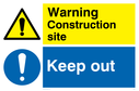 warning triangle & exclamation in blue circle - sign Text: construction site keep out