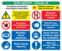<p>COVID-19 Construction site safety & social distancing - multi sign board.</p> Text: Site safety. Visitors and drivers must report to site office. Children must not play on this site. Do not come on to site if you think you have coronavirus or someone in your household is self-isolating. No access for unauthorised personnel. Maintain social distances. Wash hands regularly. Minimise face to face contact. Disinfect ALL vehicle surfaces regularly. Keep vehicle windows open for ventilation. Wear the correct PPE at all times