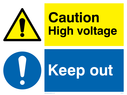 dual sign exclamation in warning triangle & circle Text: Caution  High voltage. Keep out.