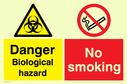 no smoking safety sign. warning biohazard symbol in yellow/black & no smoking prohibited symbol Text: Danger Biological hazard No smoking