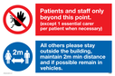 <p>dual sign no access prohibtion and mandatory 2m distance circle</p> Text: Dual sign Patients and staff only beyond this point (except 1 essential carer per patient) All others please stay outside the building, maintain 2m min distance and if possible remain in vehicles