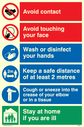 <p>Composite Covid-19 sign</p> Text: Avoid contact, avoid touching your face, wash or disinfect your hands, keeps a safe distance, cough or sneeze, stay at home