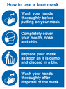 <p>How to use a face mask</p> Text: