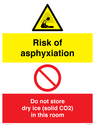<p>Risk of asphyxiation. Do not store dry ice (solid CO2) in this room</p> Text:
