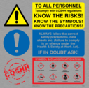 <p>COSHH regs know the risks CLP</p> Text: To all personnel to comply with COSHH regulations know the risks! know the symbols! know the precautions Always follow the correct safety precautions, data sheets etc.(failure to comply is an offence under the Health and Safety Act). If in doubt ask. Symbol and classification risk Explosive Flammable Highly Flammable Toxic Corrosive Irritant Harmful Oxidizing CLP