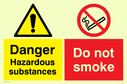 dual sign exclamation in warning triangle & no smoking symbol Text: danger hazardous substances do not smoke
