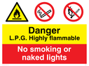 dual sign flammable warning symbol & no matches symbol Text: l.p.g. highly flammable no smoking or naked lights