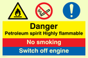 multi sign flammable warning symbol, no matches symbol & exclamation in circle Text: petroleum spirit highly flammable no smoking switch off engine