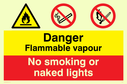dual sign flammable warning symbol & no matches symbol Text: flammable vapour no smoking or naked lights