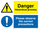 dual sign: warning triangle and exclamation mark in blue circle Text: danger hazardous process. please observe the correct precautions.