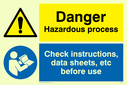 dual sign: warning triangle and exclamation in blue circle Text: Danger Hazardous process Check instructions, data sheets, etc before use