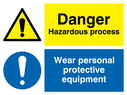 dual sign: warning triangle and exclamation mark in blue circle Text: Danger Hazardous process Wear personal protective equipment (PPE must be worn)