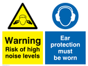 dual sign. exclamation in warning triangle & ear protection symbol Text: warning risk of high noise levels ear protection must be worn