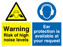 dual sign. exclamation in warning triangle & ear protection symbol Text: warning risk of high noise levels ear protection is available at your request