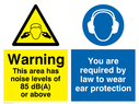dual sign. exclamation in warning triangle & ear protection symbol Text: warning this area has noise levels of 85 db(a) or above you are required by law to wear ear protection