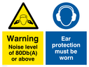 dual sign, noise hazard warning symbol & ear protection required symbol Text: Warning Noise level of 80Db(A) or above Ear protectors must be worn in this area