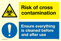 <p>dual sign biohazard triangle and mandatory exclamation circle</p> Text: Dual sign Risk of cross contamination Ensure everything is cleaned before and after use