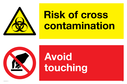 dual-sign-risk-of-cross-contamination-avoid-touching-~