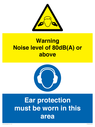 <p>Warning Noise level of 80dB(A) or above. Ear protection must be worn in this area</p> Text: Warning Noise level of 80dB(A) or above. Ear protection must be worn in this area