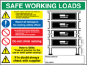 <p>These signs give guidence to the amount of weight that can be stacked on a particular shelf.</p> Text: Safe working load racking sign.   Add to your order your required maximum weights and fill in the 'special instructions' box at the basket to confirm your required text.