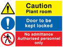 Composite safety sign with general warning symbol, no pedestrians prohibiton symbol and a general mandatory symbol. Text: Caution Plant room.  Door to be kept locked.  No admittance Authorised personnel only.