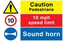 caution-pedestrians--sound-horn-combination-sign-~