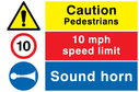 composite-safety-sign-with-general-warning-symbol-10-mph-prohibiton-symbol-and-a~