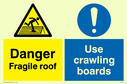 dual sign fragile roof symbol & exclamation in circle Text: Danger fragile roof Use crawling boards