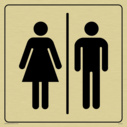 male & female toilet symbols in positive black with border Text: None