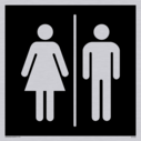 male & female toilet symbols in negative black Text: None