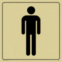 male toilet symbol in positive black with border Text: None